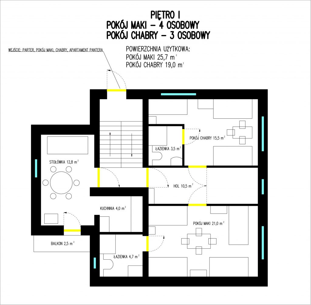 piętro 1 -rysunek techniczny